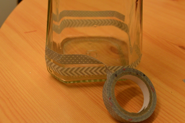 Washi tape the bottom of the jar