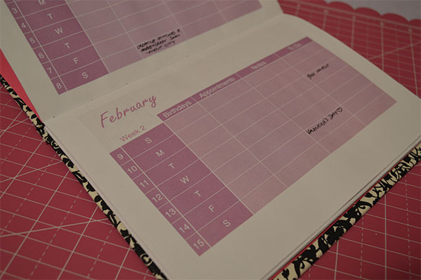 DIY 2014 Diary Bookbinding Printable Diary Pages