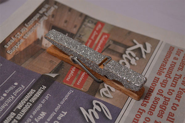 Cover the peg in silver glitter