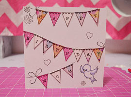 DIY Handstamped Bunting Card FI
