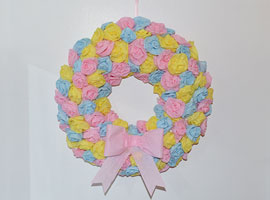 DIY Spring Wreath with Tissue Paper Roses Tutorial