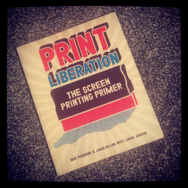 Saturday night reading courtesy of @lizomzimba #screenprinting #printliberation #reading #books